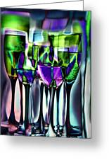 Wine Glasses With Colorful Drinks  Greeting Card