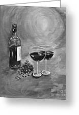 Wine On My Canvas - Black And White - Wine For Two Greeting Card