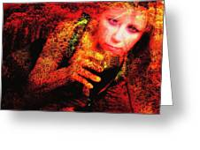 Wine Woman And Fall Colors Greeting Card