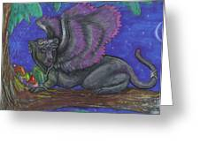 Winged Panther Kitten Cub Greeting Card