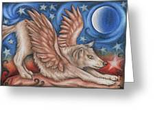 Winged Wolf In Downward Dog Yoga Pose Greeting Card