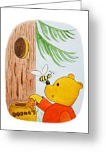 Winnie The Pooh And His Lunch Greeting Card