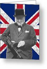 Winston Churchill And Flag Greeting Card