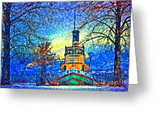 Winter And The Tug Boat 2 Greeting Card