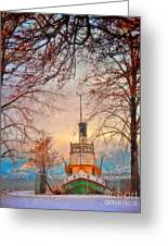 Winter And The Tug Boat Greeting Card