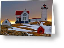 Winter At Nubble Light  Greeting Card