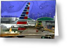 Winter At The Airport Greeting Card