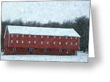 Winter Barn In Oil Greeting Card