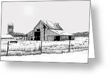 Winter Barn Greeting Card by Lyle Brown