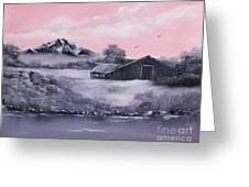 Winter Barns Greeting Card by Cynthia Adams