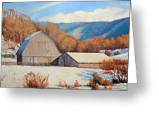 Winter Barns Greeting Card by Keith Burgess