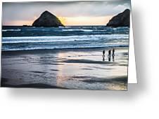 Winter Beach Stroll Greeting Card