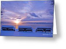 Winter Benches Greeting Card