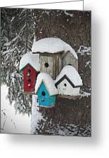 Winter Birdhouses Greeting Card