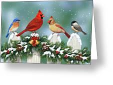Winter Birds And Christmas Garland Greeting Card