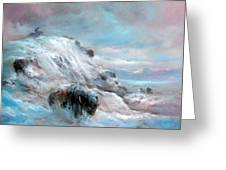 Winter Bison Chase Greeting Card