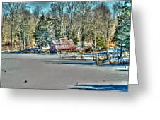 Winter Boathouse Greeting Card