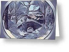Winter Bridge In Blue Greeting Card