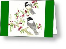 Winter Chickadees And Berries Greeting Card