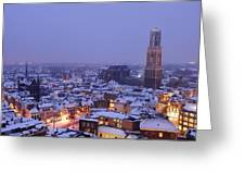Winter Cityscape Of Utrecht In The Evening 14 Greeting Card
