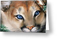 Winter Cougar Greeting Card by Larissa Prince