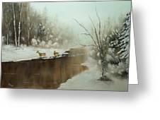 Winter Deer Run Greeting Card
