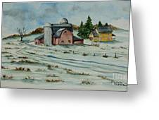 Winter Down On The Farm Greeting Card by Charlotte Blanchard