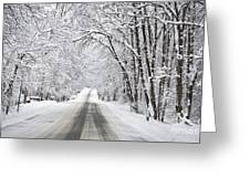 Winter Drive On Highway A Greeting Card