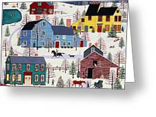 Winter Evening Fun Greeting Card