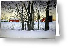 Winter Evening On The Farm Greeting Card