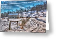 Winter Farm Barn In Snow  Greeting Card