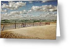 Winter Fences In Grand Haven 2.0 Greeting Card