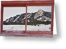 Winter Flatirons Boulder Colorado Red Barn Picture Window Frame  Greeting Card