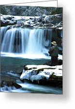 Winter Fly Fishing Greeting Card