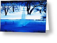 Winter Fountain 2 Greeting Card
