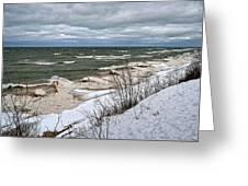 Winter Ice On Lake Michigan Ll Greeting Card