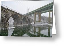 Winter In East Falls Along The Schuylkill River Greeting Card