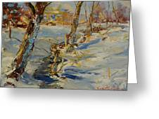 Winter In Mat Greeting Card
