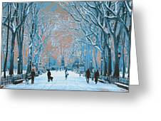 Winter In The City Park Greeting Card