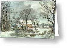 Winter In The Country - The Old Grist Mill Greeting Card by Currier and Ives