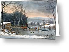 Winter In The Country Greeting Card by Currier and Ives