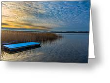 Winter Lake View With A White Rectangle Greeting Card by Julis Simo