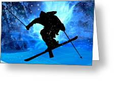 Winter Landscape And Freestyle Skier Greeting Card