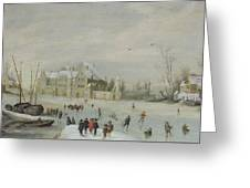 Winter Landscape Greeting Card by Barent Avercamp