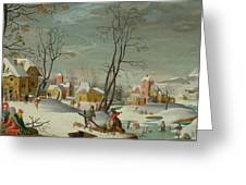 Winter Landscape Of A Village Greeting Card
