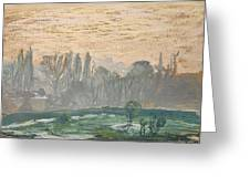 Winter Landscape With Evening Sky Greeting Card