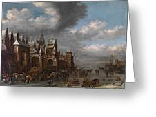 Winter Landscape With Horses Sleighs And Skaters In Front Of A Fortified Town, Greeting Card