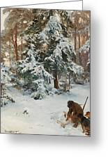 Winter Landscape With Hunters And Dogs Greeting Card
