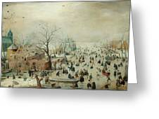 Winter Landscape With Ice Skaters1608 Greeting Card