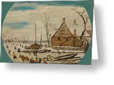 Winter Landscape With Skaters And A Farm House Greeting Card